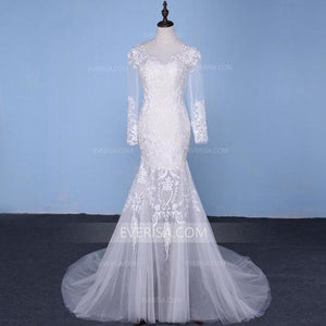 Long Sleeve Detachable Skirt Lace Bridal Gown Mermaid Wedding Dresses - EVERISA