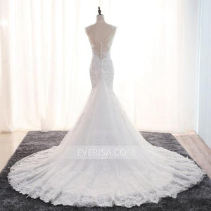 White V-Neck Backless Mermaid Wedding Dresses Best Bridal Gown With Beaded - EVERISA