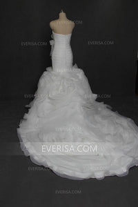 Sweetheart Sleeveless Mermaid Wedding Dresses Best Bridal Gown With Pleats Ruching - EVERISA