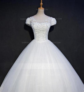 White Cap Sleeve Lace Beaded Wedding Dresses A line Best Bridal Gown - EVERISA