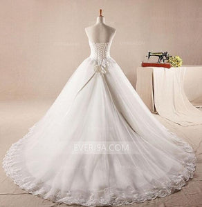 Strapless A line Wedding Dresses White Sleeveless Beaded Bridal Gowns - EVERISA