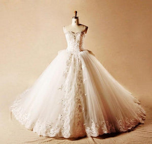 Elegant Strapless Lace Beaded Wedding Dresses Best Bridal Gown With Bowknot - EVERISA