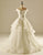 White Off Shoulder V Neck Long Wedding Dresses Tiered Sleeveless Bridal Gown - EVERISA