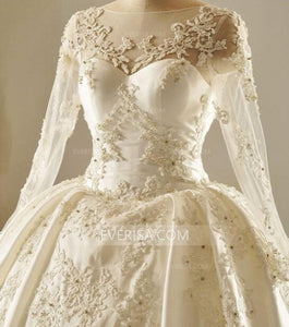 Long Sleeve Scoop Neck Beaded Lace Wedding Dresses Cheap Bridal Gown With Open Back - EVERISA