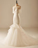 Off Shoulder Short Sleeve Mermaid Wedding Dresses Long Bridal Gown With Beaded
