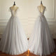 Grey A Line Bridal Gown V-Neck Short Sleeves Affordable Wedding Dresses - EVERISA