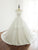 Simple White Scoop Neck Short Sleeves A Line Wedding Dresses Long Bridal Gown - EVERISA