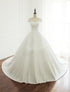 Simple White Scoop Neck Short Sleeves A Line Wedding Dresses Long Bridal Gown