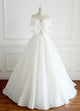 Simple White A-Line Strapless Sleeveless Wedding Dresses Cheap Bridal Gown - EVERISA