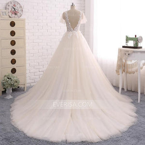 Deep V Neck Short Sleeves Open Back A-Line Wedding Dresses Affordable Bridal Gown - EVERISA