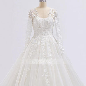 A Line Wedding Dresses Long Sleeves Backless Lace Beaded Bridal Gown - EVERISA
