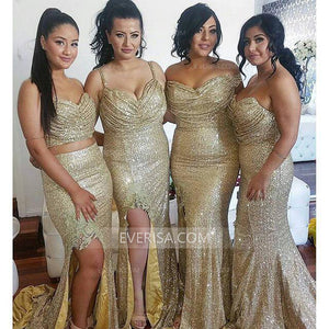 Fashion Gold Sweetheart Slit Sequin Bridesmaid Dresses Long Prom Dress