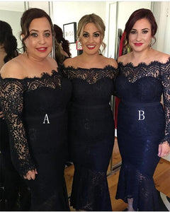 Navy Blue Long Sleeves Strapless Lace Bridesmaid Dresses Mermaid Prom Dresses