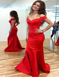 Burgundy Off Shoulder Mermaid Prom Dresses Affordable Formal Dresses - EVERISA
