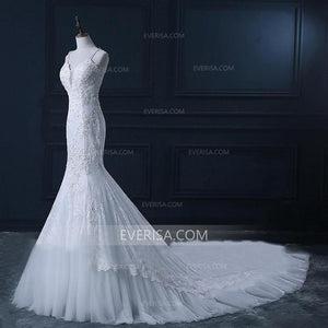 New White V-Neck Sleeveless Mermaid Wedding Dresses Cheap Bridal Gown With Lace