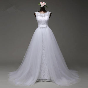 White Detachable Skirt Sleeveless Lace Bridal Gown Affordable Wedding Dresses - EVERISA