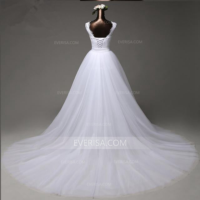 White Detachable Skirt Sleeveless Lace Bridal Gown Affordable Wedding