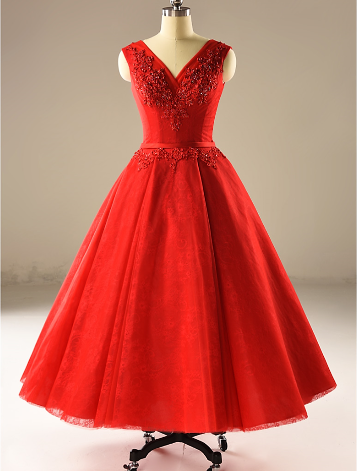 8550cc37bb4 V-Neck A Line Red Wedding Dresses Tea Length Bridal Gown With Lace Beaded -