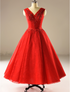 V-Neck A Line Red Wedding Dresses Tea Length Bridal Gown With Lace Beaded