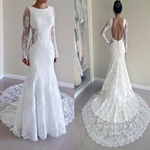 Scoop Neck Backless Bridal Gown Mermaid Wedding Dresses With Long Sleeves