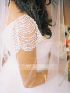 White Sweetheart Cap Sleeves Beaded Wedding Dresses A Line Bridal Dresses