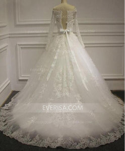 Long Sleeves Off Shoulder A Line Bridal Gown Cheap Wedding Dresses - EVERISA