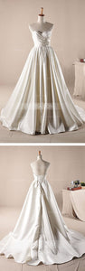Sweetheart Sleeveless A-line Wedding Dress Affordable Bridal Gown - EVERISA