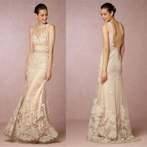 New Sleeveless Backless Slim-line Wedding Dresses Cheap Bridal Gown
