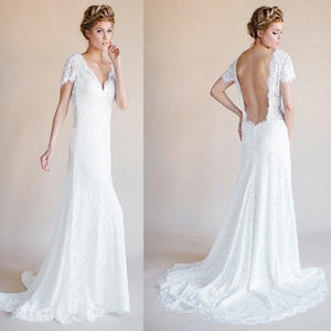 V-Neck Sleeveless Open Back Lace Bridal Gown Cheap Wedding Dresses - EVERISA