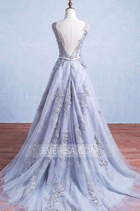 Scoop Neck Sleeveless Backless Blue Bridal Gown Long Wedding Dresses - EVERISA