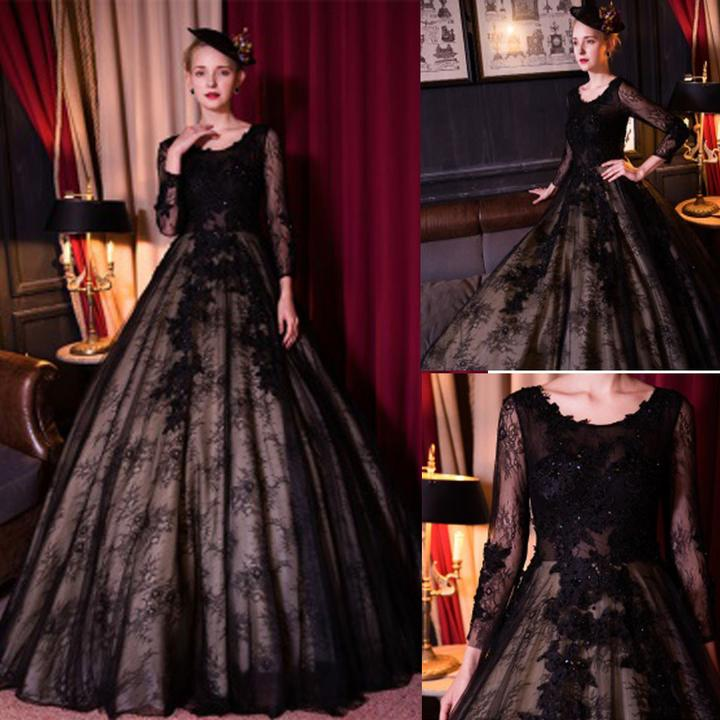 Black Bridal Gown Long Sleeves Backless Lace A Line Wedding Dresses