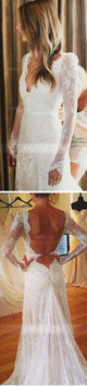 V-Neck Open Back Slim-line Bridal Gown Cheap Wedding Dresses - EVERISA