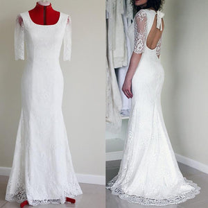 White Half Sleeve Open Back Mermaid Wedding Dresses Long Bridal Gown - EVERISA