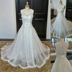 Scoop Neck Sleeveless A Line Bridal Gown Cheap Wedding Dresses With Lace Beaded