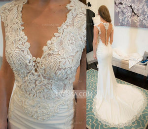 White Sleeveless Slim-line Bridal Gown Affordable Wedding Dresses With Beaded - EVERISA