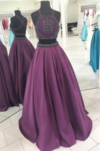 Purple Two Pieces Cross Back Beaded Prom Dresses Cheap Evening Dresses