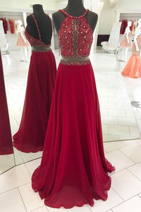 Burgundy Sleeveless Beaded Chiffon Prom Dresses Long Evening Dresses - EVERISA