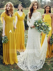 Different Styles Yellow Long Chiffon Bridesmaid Dresses Cheap Prom Dresses - EVERISA
