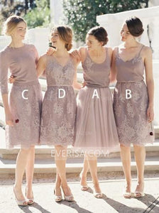 Different Style Lace Short Prom Dress A Line Cheap Bridesmaid Dresses - EVERISA
