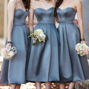Strapless Sweetheart Short Bridesmaid Dresses Cheap Prom Dresses - EVERISA