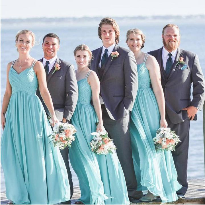 042e1272748 Tiffany Blue Bridesmaid Dresses Straps Sleeveless Chiffon Prom Everisa