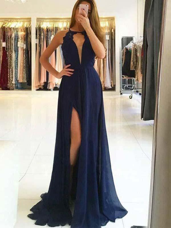 Sexy Navy Blue Halter Side Slit Prom Dresses Long Evening Dresses With Backless