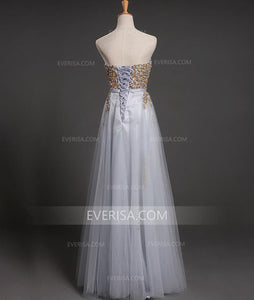 Sweetheart Strapless Beaded A-line Evening Dresses Long Prom Dresses - EVERISA