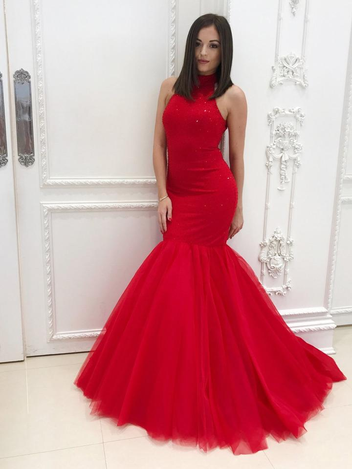 Red Beaded Mermaid Evening Dresses High Neck Open Back Prom Dresses