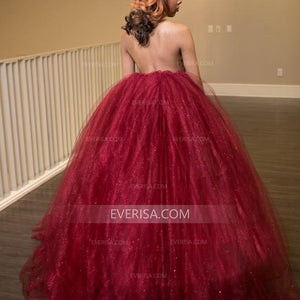 Sexy Sleeveless Backless Burgundy Prom Dresses Affordable Evening Dresses - EVERISA