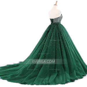 Strapless Green Evening Dresses Sleeveless A-line Prom Dresses With Beaded - EVERISA