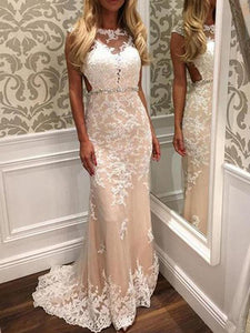 Slim Line Evening Dresses Sleeveless Open Back Cheap Prom Dresses With Lace Appliques - EVERISA