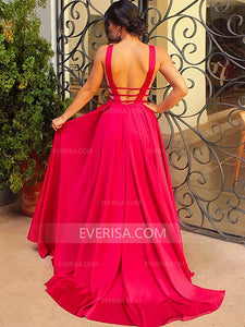 V Neck Sleeveless Backless Long Prom Dresses A Line Evening Dresses With Ruffles - EVERISA