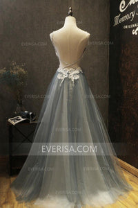 Grey Sweetheart Sleeveless Lace Applique Prom Dresses Tulle Evening Dresses