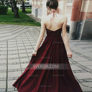 Halter Sleeveless Backless Chiffon Prom Dresses Long Evening Dresses - EVERISA